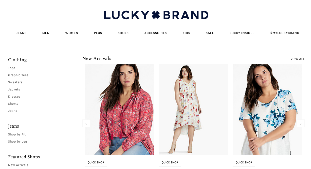lucky brand taille +